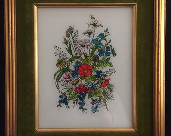 Vintage Floral Wall Art Painting Framed Reverse Painting Glass Painting Aluminart Painting on Glass Foil Art Home Decor Wall Decor