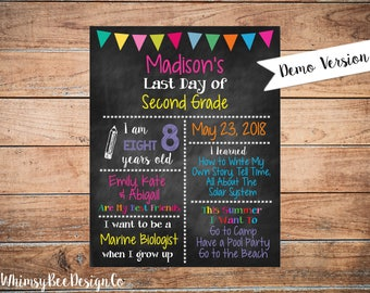 Printable Last Day Of School Reusable Chalkboard Sign for Girls, End of School Poster, 11x14, ANY GRADE Blackboard Pink Black 11x14