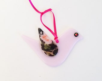 Baby pink Fused Glass Hanging Bird