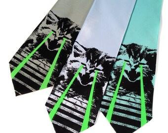Raving Laser Kitten necktie. Green glow lasers. LOL cat black light reactive, space laser screenprinted microfiber tie.