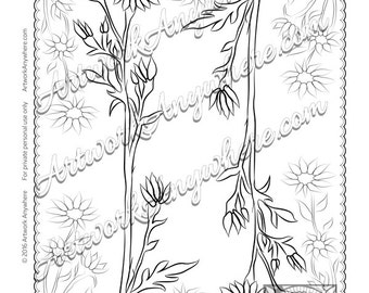 Double Daisy Flower Blossoms ~ Adult coloring page printable download digi- stamp ~hand drawn flowers~ Japanese Blossoms by Artwork Anywhere