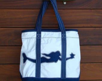 Navy Mermaid & Navy Stripe Daysailer
