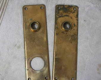ON SALE Vintage Matching ESCUTCHEON Back Plates-Ornate Door Hardware- Salvaged Door Knob Plate- Back Plate Pair Architectural Salvage