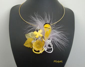 Set: Necklace and earrings yellow, feather, lucite, wedding, summer