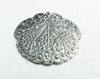 Floral Crest Medallion metal stamping pack of 2, 03440