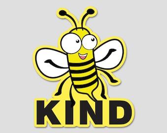"Bee Kind Bumper Sticker Decal 4"" Circle"