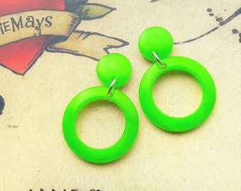 Lime Green Hoop Earrings, 40s 50s Lucite Inspired Hoops, Rockabilly, Pin Up, Mid Century Modern.