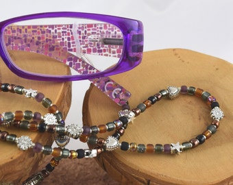 Mahogany black brown and grey eyeglass sunglass handcrafted beaded chain never lose your glasses again!