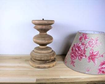 Large raw lamp base, old, vintage solid wood, ready to paint