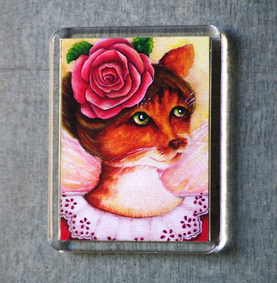Rose Cat Magnet, Victorian Flower Fairy Ginger Cat Art Fridge Magnet