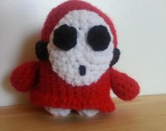 Crocheted Shy Guy from Mario Bros. 2