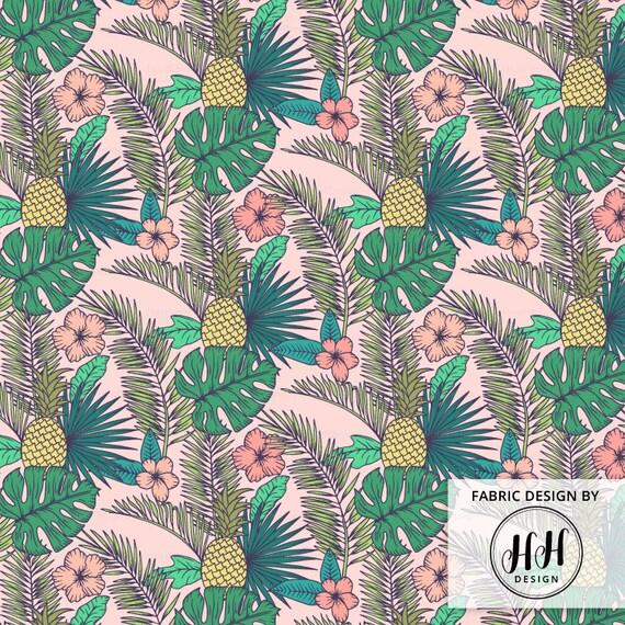 Tropical Garden Fabric By The Yard Pink Hawaiian Pineapple