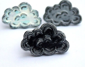 White, Silver or Black Cloud Storm Cloud Ring - Mood Ring
