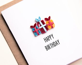 Valentine present. Happy Birthday Card - Birthday Card For Friends - Birthday Presents Card - Quilled Birthday Card