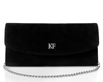 Leather Clutch, Leather Clutch Bag Purse, Black Leather Clutch KF-686