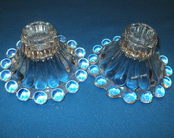Vintage Pair Anchor Hocking Boopie Glass Candle Holders