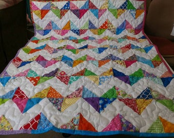 Handcrafted Handmade Pieced Multi Color Scrappy Chevron Baby Crib Lap Throw Quilt Blanket Made in the Arkansas Ozarks
