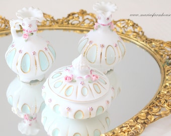 VANITY SET, Porcelain German 4 Piece Vanity Set, Cruets, Trinket Bowl with Lid, Wedding Gift Inspiration, Little Princess Bedroom Decor