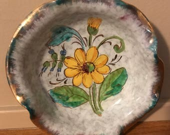 Beautiful, Vintage, small TRINKET/CANDY DISH with Daisy and Bluebell Flowers Hand Painted in the Bowl made in Italy