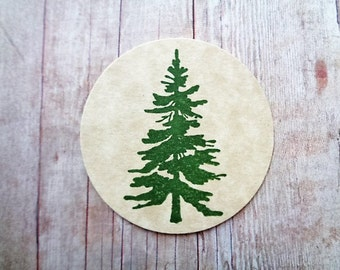 Rustic Pine Tree Stickers Cardstock Labels Envelope Seals