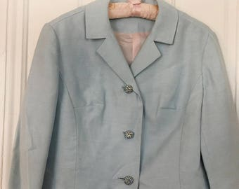vintage light blue blazer, capped sleeve 50s blazer, lined vintage blazer, rhinestone button blazer, vintage jacket, 60s vintage blazer