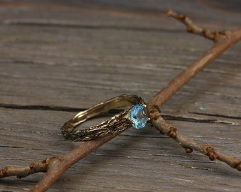 Topaz and Diamond twig engagement ring in yellow gold, Women's twig ring, Tree bark engagement ring, Women's topaz ring, Gift for bride
