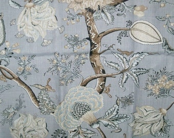 SCALAMANDRE  PONDICHERRY JACOBEAN Hand Printed Linen Fabric 10 Yards Mineral Multi