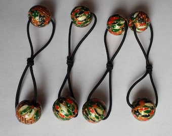 Retro Red Green Pink Gold Upcycled Bead Elastic Hair Tie Bobble