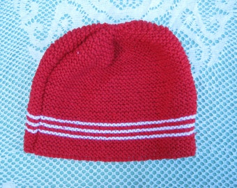 Handmade Knitted Red and White Striped Hat/Beanie for Women