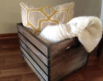 Handmade Large Wood Wine Crate | Storage Crate | Farmhouse Decor | Blanket Storage | Rustic Decor