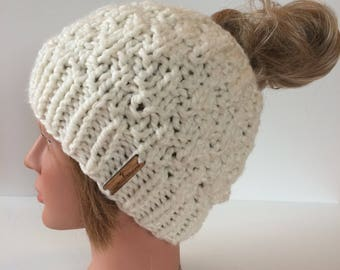 Messy Bun Hat, Women's Messy Bun Hat, white Messy Bun Hat, white knitted Messy Bun Beanie, top knot Toque, ponytail hat, Holey Hat
