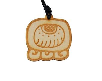 Mayan Nagual Amulet - Maya Tzolkin - Mayan jewelry - Laser engraved - Wooden Necklace - Mayan Tzolkin - Alligator - Imox - FREE SHIPPING