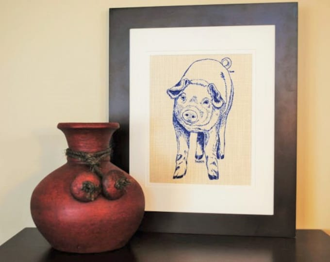 Wall Picture Art Print - Screen Printed Linen - Similar to Burlap - Blue Wall Hanging Print of a Pig - Cute House Warming Gift