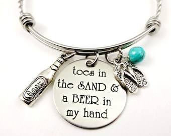 A BEER In My Hand Beach Bracelet or Necklace - Toes In the Sand Girl - Cruise Jewelry - Ocean
