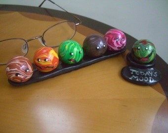 Mini Marble Moods Set of Six with Display Trays Grumpy Aggravated Confused Need Chocolate Romantic and Excited