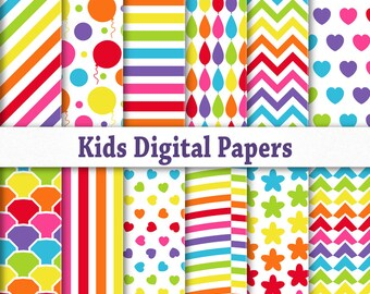 Kids party digital paper pack download. Printable scrapbook background.