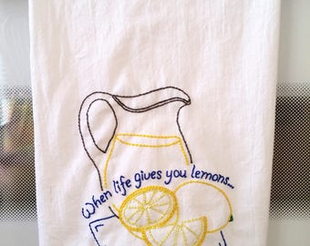 Hand Embroidered Flour Sack or Tea Towels, Fruits and Vegetables