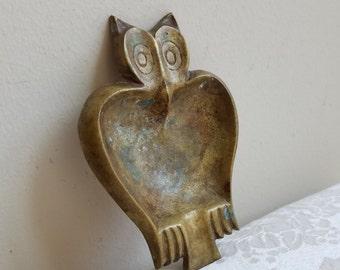 Vintage Brass Owl Ashtray Dish With Patina, Bohemian Modern