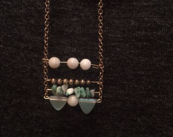 Chunky stone necklace - long - horizontal wire