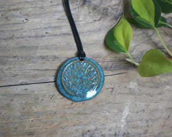 Teal Speckled Tree of Life Pendant Necklace ~ Ceramic Jewelry ~ Ready to Ship!