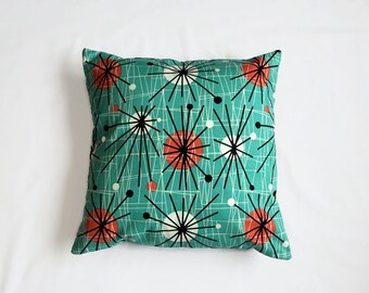 Turquoise Decorative Pillow, Funky Retro Cushion, Designer Fabric, Abstract Design, Retro Atomic Era, Petrol Blue Cushion