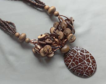 Vintage Brown Wood Bead/Glass Seed Bead Acrylic Pendant Tribal Necklace