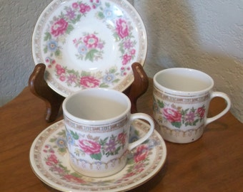 Pair of Lovely Demitasse Cup and Saucer Pink Floral with Gold Trim