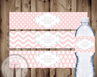 Blank Water Bottle Labels, INSTANT DOWNLOAD water bottle labels, DIY water bottle wrappers, water bottle labels, fill in