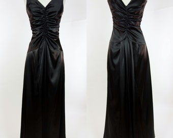 Jessica McClintock black satin dress, ruched sleeveless floor length maxi gown, event formal party dress, Medium