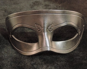 Handmade Molded Embossed Black Leather Classic Ranger Masquerade Mask