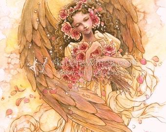 "Leanne's Angel - Free Shipping to US - Angel with Roses Whispering to a Bird - Fantasy Illustration Print 5"" x 7"" - by Mitzi Sato-Wiuff"