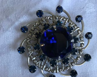Mid Century Art Deco Brooch Sapphire Colored Stones