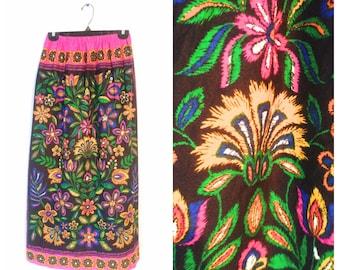 Maxi skirt size Medium vintage 1960s floral bright neon on black