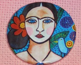 CLEARANCE, Seconds stock,  Frida Needle Minder, Licensed, Cross Stitch Keeper, Heather Galler  Art, Fridge Magnet, Button Magnet, Pin Holder